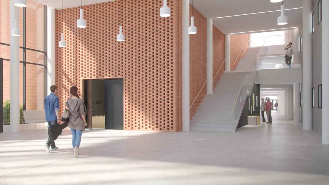 Havainnekuva Joensuun konservatorion uuden rakennuksen aulasta